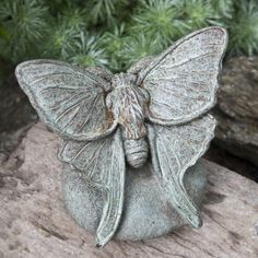 Campania International Lunar Moth Cast Stone Garden Statue