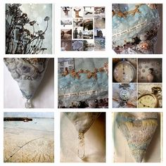 Carolyn Saxby -- wintery ones feathers and seawashed pottery