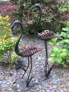 Large Garden Ornaments - Flamingos in Reeds Antique Copper Sculptures. Buy now at http://www.statuesandsculptures.co.uk/large-garden-ornaments-flamingos-with-reeds-antique-copper-sculptures