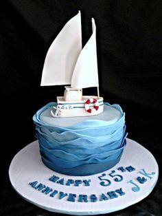 Sailboat cake - Cake by Tammy - CakesDecor Nautical Birthday Cakes, Nautical Wedding Cakes, Dad Birthday Cakes, Nautical Cake, Sailor Cake, Sailor Theme, Doctor Cake, Boat Cake, Ocean Cakes