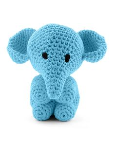 Hoooked Large Elephant Mo sea blue amigurumi crochet kit & pattern #crochet #gift #cute #animal #craft