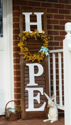 Easter sign HOPE, repurposed plantation shutter used as sign, letters and forsyt. - Easter sign HOPE, repurposed plantation shutter used as sign, letters and forsythia garland from cr - Shutter Projects, Wood Projects, Craft Projects, Wood Crafts, Diy And Crafts, Diy Shutters, Repurposed Shutters, Bedroom Shutters, Rustic Shutters