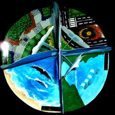 Maqueta escolar. Ciclo del Agua. Dibujo, diagramación, ilustración y hechura: Kelly Carrillo Sánchez.