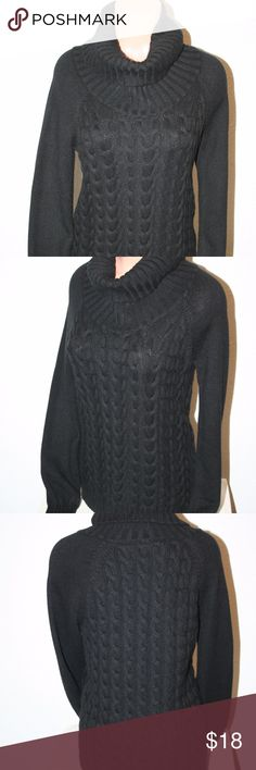 "BANANA REPLUBLIC Medium Black Sweater Cowl Neck Banana Republic Excellent Condition - No Stains or Holes Black Cowl Neck Size:  Medium Sweater Cable Knit Style   Chest:  36"" (armpit to armpit then doubled) Length:  24 1/4"" ​Sleeve Length:  28"" from collar 40% Wool, 30% Nylon, 25% Viscose and 5% Cashmere Banana Republic Sweaters Cowl & Turtlenecks"