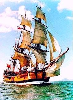 An 18th Century sailing ship.