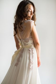 Milk silk wedding dress with flowing skirt by CathyTelle on Etsy