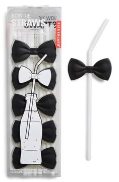 Make any occasion a black-tie affair by snapping these bow ties onto the accompanying straws and voilà: instant fancy drinks.