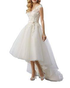 Lava-ring Womens Strapless Bow Sash Lace Half Sleeves Sweep Bridal Dress