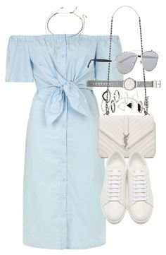"""Outfit for summer with a denim dress"" by ferned on Polyvore featuring Topshop, Yves Saint Laurent, Witchery, Christian Dior and Forever 21"