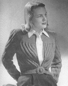 1940s Vintage Sports Jacket Knitting Pattern PDF 4708