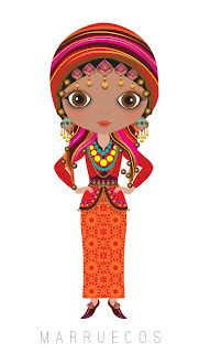 Morocco Travel Doll ~ by Veronica Alvarez Paper Doll Costume, Paper Dolls, Arno Stern, Costumes Around The World, Kawaii, Thinking Day, We Are The World, Picture Design, World Cultures