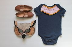 baby girl bodysuit--mustard and blush double ruffle collar on navy blue--hudson & ruthie