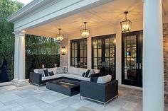 Image Custom homes - Makow Architects - french - transitional - luxury custom home - from the french transitional gallery Casa Rock, Backyard Patio Designs, Backyard Covered Patios, Covered Patio Design, Covered Porches, Dream Home Design, Outdoor Rooms, Outdoor Dining, Outdoor Furniture Sets