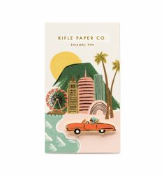 Channel Hollywood glamour with Rifle Paper Co.'s glossy Car enamel pin. The rubber clutch backing keeps it safely attached to your favorite jacket, backpack, or tee. Each pin is packaged with an illustrated backer to set the scene. Rifle Paper Company, Pin Card, Kawaii, Pin And Patches, Beautiful Gifts, Pin Badges, Cool Patterns, Messing, A Boutique