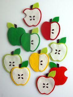 Molly's Sketchbook: Apple Coasters - The Purl Bee - Knitting Crochet Sewing Embroidery Crafts Patterns and Ideas! Purl Bee, Diy Crochet Bag, Flamingo Ornament, Felt Birds, Felt Cat, Felt Food, Felt Hearts, Mug Rugs, Artisanal