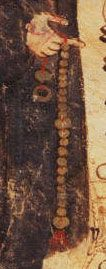 i ask again, is it a belt, or a weapon... it's probably a rosary... Hoccleve's Chaucer ca 1500