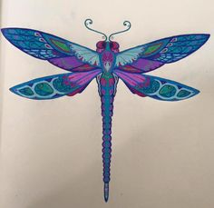 Enchanted Forest: An Inky Quest & Coloring Book: Johanna Basford: - - Dragonfly Painting, Dragonfly Wall Art, Dragonfly Tattoo Design, Dragonfly Jewelry, Dragonfly Illustration, Coloring Books, Coloring Pages, Enchanted Forest Coloring Book, Johanna Basford Coloring Book