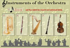 Online instruments of the orchestra quiz. Students listen to and then identify the instruments. Preschool Music, Music Activities, Teaching Music, Music Games, Instruments Of The Orchestra, Musical Instruments, Music Lesson Plans, Music Lessons, Orchestra