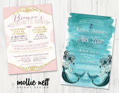 Bridal Shower and Bachelorette Party Invitations for any theme! Shown here - Teal and Purple Sea Mermaid Theme and Gold and Blush Classy Elegant Bachelorette Shower Theme - by Mollie Neff Bright Design - www.MollieNeff.com