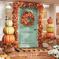Thanksgiving Decor. Leaf Wreath. Fall Decor. Outside Leaf Garland. Front Door Decorations. Wire Mesh. Leaves. Stacked Pumpkin Topiary.