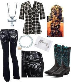 Country Life Miss Me Jeans Cowboy Boots Plaid Shirt cute outfit Country Style Outfits, Country Girl Style, Country Fashion, My Style, European Fashion, Cowgirl Outfits, Western Outfits, Western Wear, Western Cowboy