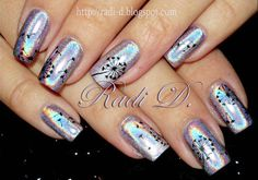 dandelion holographic spring nails