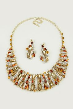 Crystal Collier Necklace and Earrings in Colorado Topaz