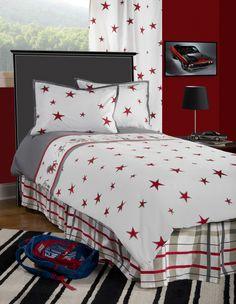 Boys Punk Animal Stars White /Gray Full Size Comforter Bed Set