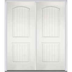 Milliken Millwork 72 in. x 80 in. 2-Panel Planked Painted Fiberglass Smooth Double Prehung Front Door, Brilliant White