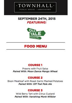 Townhall Abbotsford & Old Yale Brewery Present A Craft Beer Pairing Dinner!