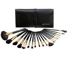 ACEVIVI Professional 20pcs Makeup Brush Set Eyeshadow Lip Foundation... ($20) ❤ liked on Polyvore