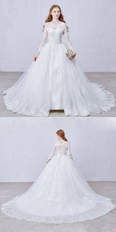 This wedding dress with a chapel train looks like one from a fairy tail, don't you think so? Looking for a perfect fit? For an additional USD $ 0, our tailors will use your exact measurements to create a made-to-order dress just for you!! Tip: Looking for a perfect fit? For an additional USD $ 0, our tailors will use your exact measurements to create a made-to-order dress just for you.