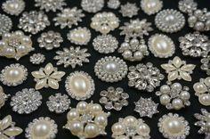 Wholesale Bulk Lot 100 Rhinestone Crystal Pearl by FancyBrooches