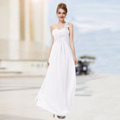 Custom Made Evening Dresses 2016 Long Evening Party Gowns Chiffon Prom Dress One Shoulder Formal Dresses Elegant Prom Dresses, Formal Evening Dresses, Satin Dresses, One Shoulder Formal Dresses, One Shoulder Wedding Dress, White Chiffon, Chiffon Dress, Evening Party Gowns, Ever Pretty