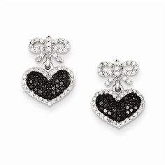 Sterling Silver 1/2ct. TDW Black and White Diamond Heart & Bow Post Earrings.