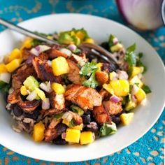 Caribbean Jerk Salmon Bowl with Mango Salsa. looks yummy! Could make with chicken as well!