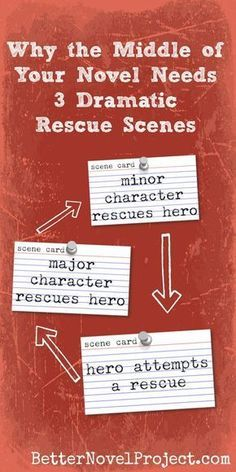 All of these rescues mean that there are at least three life-and-death situations in the middle of the novel, even before the climax! (The final scene at the end of the novel is its own kind of rescue.) Besides making the reader's heart beat faster, these Writer Tips, Book Writing Tips, Writing Quotes, Writing Process, Fiction Writing, Writing Resources, Writing Help, Writing Skills, Writing Courses