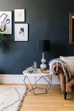 Charcoal Living Room Walls. Click for more dark wall inspiration. | www.jaymeesrp.com