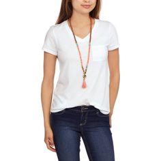 0782f9221d No Boundaries Junior' V Neck Burnwash Pocket Tee, Size: Small, White White