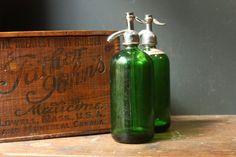 vintage emerald seltzer bottles