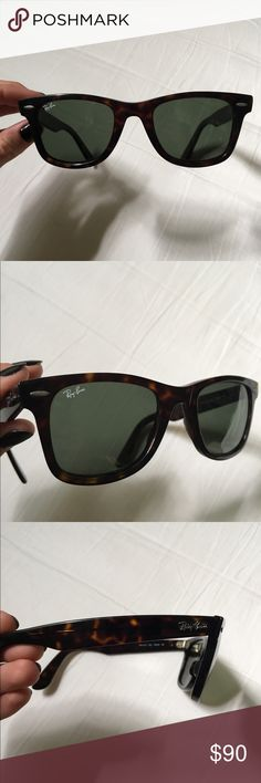 Ray ban classic wayfarers in tortoise shell Classic ray ban wayfarers with tan case included. Worn but still in really good condition, no major scratches just minimal scuffing. Tortoise shell. Ray-Ban Accessories Glasses