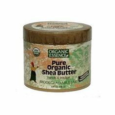 Organic Shea Butter 4 Ounces by Organic Essence Pure Organics. $26.81. Serving Size:. 4 Ounces Liquid. Pure Organic Shea Cream is a natural cold pressed oil from the african karite nut. It is well known for promoting capillary circulation and is considered to be a superior healer and rejuvenator for troubled, dry or aging skin. Pure Organic Shea Cream can be applied on your lips or on any dry area of skin. Use twice daily to help soften calluses and condition cuticles.Organic Es...