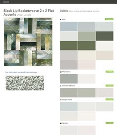 Black Lip Basketweave 2 x 2 Flat Accents. Ocean Jewels. Glass metal and decorative accents. Daltile. Behr. PPG Paints. Sherwin Williams. Valspar Paint. Olympic.  Click the gray Visit button to see the matching paint names.