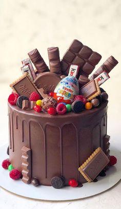 15th Birthday Cakes, Candy Birthday Cakes, Creative Birthday Cakes, Elegant Birthday Cakes, Beautiful Birthday Cakes, Sweet Birthday Cake, Chocolate Birthday Cake Decoration, Chocolate Candy Cake, Chocolate Cake Designs