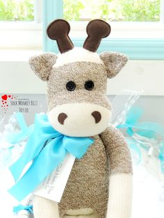 Sock Monkey Giraffe Doll **Made to order with a creation to shipment period of 3-5 business days. Due to the doll's eyes and other accessories, this toy is not suitable for babies or smaller children.