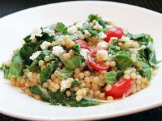 Quick and fresh: Pearl Couscous with Tomatoes, Feta, and Spinach #recipe