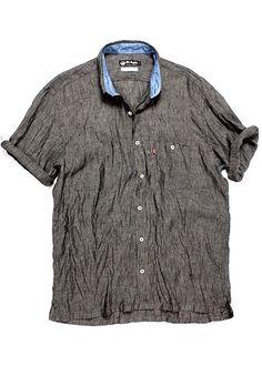 Camisa de linho manga curta Grafite  8424482a752e7