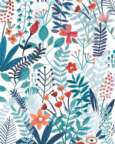 Print patterns, textile patterns, pattern art, flower patterns, textile d. Flower Illustration Pattern, Illustration Blume, Pattern Drawing, Pattern Art, Print Patterns, Red Pattern, Pattern Ideas, Textile Patterns, Botanical Illustration