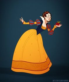 Disney princesses drawn in historically accurate garb. Snow White and Belle are my favorites when it comes to these illustrations.