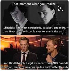 Sherlock and Loki. Benedict Cumberbatch and Tom Hiddleston. Doctor Who, Dc Memes, Marvel Memes, Avengers Memes, Funny Memes, Martin Freeman, Superwholock, Hunger Games, Fangirl
